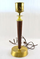 Wood & Metal  Lamp Gold Toned No Shade For Parts Works May Need Rewired