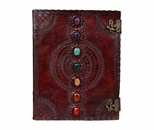 EXTRA LARGE 7 CHAKRA STONE WICCA HANDMADE BOOK OF SHADOWS LEATHER JOURNAL