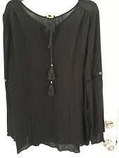 Cupio Black Peasant Blouse with Tassel size XL NWT