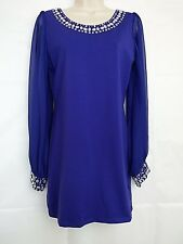 Ax Paris Cobalt Blue Jewel Embellished Tunic Dress Party Cocktail Size 10-12 NWT