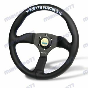 340mm KEY'S White Embroidery Leather Deep Dish Steering Wheel For OMP MOMO Rac