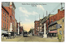York PA Market St Looking East from Square Trolley Horse Carriage Vntg Postcard