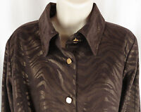 Simonton Says Womens Shirt Small Brown Bronze Metallic Animal Print Soft Blouse