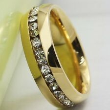 Size 5 6 7 8 9 10 11 12 13 14 15 18K Gold Plated Stainless Steel Ring CZ Inlay