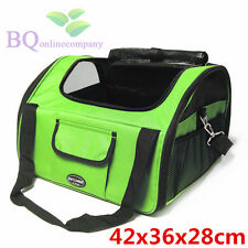 Small Pet Dog Cat Adjustable Booster Car Seat Carrier Travel Bag w/ Leash -Green