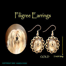Tibetan Terrier Dog - Gold Filigree Earrings Jewelry