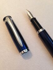 BAOER 508 BLUE & BLACK CHROME TRIM MEDIUM NIB FOUNTAIN PEN-CONVERTER-UK SELLER