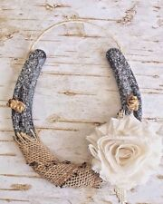 Shabby Chic Glitter Horseshoe, Burlap & Ivory Flower, Handcrafted Wedding Gift