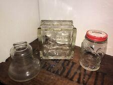 Antique Still Bank Lot, 3 Glass Banks, Esso, Liberty Bell & Rare Lucky Joe!
