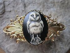HAND PAINTED BARN OWL CAMEO GOLD FILIGREE BARRETTE - BLACK