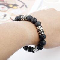Black/Silver Men's/Women's Lava Stone Bracelet Viking/Medieval/Odin/Roman/Thor