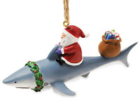 Santa Riding Shark Nautical Fishing Christmas Holiday Ornament Resin