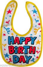 87016 Red Blue Happy Birthday Baby Bib Stars Confetti Infant Feeding New