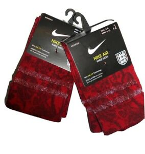 Nike Air 2 pair Knee High The Lionesses women's England Soccer Socks Med 6-8