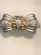 14 KT SOLID GOLD DIAMOND FLOWER RING TWO-TONE