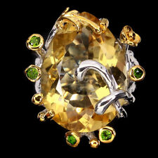 Handmade 18.86ct Pear 22x16mm Yellow Citrine Chrome Diopside 925 Silver Ring 8
