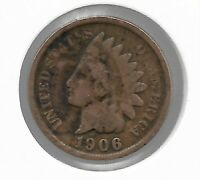Rare Old Antique US 1906 Indian Head Penny Cent Collectible Collection Coin T55