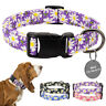 Pink Purple Black Floral Dog Collar and Personalised Tag Nylon Pet Collars L XL