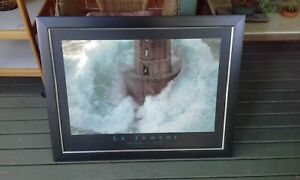 WALL ART PHOTOGRAPHY FRAMED PICTURE LIGHTHOUSE LA JUMENT BAY OF BISCAI PRINT