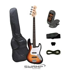 Artist JB2SB Jazz Style Electric Bass Guitar + Accessories - Tobacco Sunburst