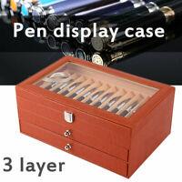 36 Fountain Pen Display Box Holder Leather Storage Collector Organizer Box Slot