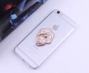Universal Crystal 360 Rotating Finger Ring Stand Holder For Cell Phone Tablet EL