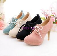 New Womens Pumps Shoes Lace Up Round Toe Ankle Boots High Heels Plus Size 4-10.5
