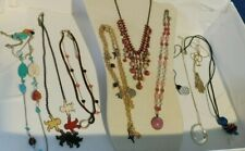 Necklace Lot:  Stone Cloisonné Dangle Bib & 9 Multi Style Charm Crystal Gemstone
