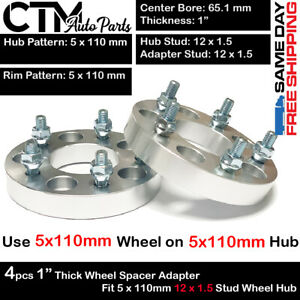 4PC 1'' THICK 5x110MM 65.1MM C.B. WHEEL SPACER FIT PONTIAC G5/G6/SOLSTICE