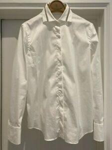 Brunello Cucinelli women white cotton regular shirt with monili collar size XS