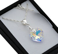 925 SILVER LEAF NECKLACE MADE WITH SWAROVSKI CRYSTALS 18MM HEART- CRYSTAL AB