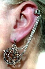Pentacle Ear Cuff Stud and Chains Earring Pagan Wicca Sabbat Silver Pentagram