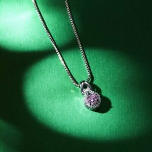 Gorgeous 925 Silver Zircon Necklace Pendant Women Sapphire Wedding Jewlery Gift