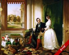 QUEEN VICTORIA & PRINCE ALBERT IN WINDSOR CASTLE PAINTING ART REAL CANVAS PRINT