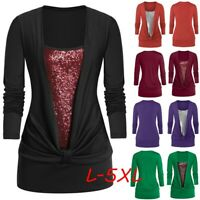 Women Plus Size Long Sleeve Blouse Glitter Sequins Square Collar T Shirt Tops AU