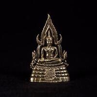 Seduto Ottone Tailandese Sukhothai Enlightenment Buddha Statua - 7cm (6.3cm)