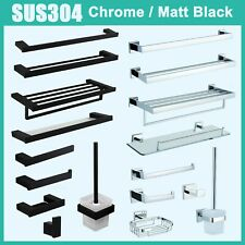 Black Chrome Double Single Towel Rail Rack Roll Holder Toilet Brush Glass Shelf