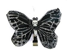 Hairy Scary Black Silver Glitter Medium Kahlovera Skull Butterfly Hair Clip