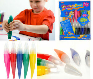 Squeeze N Brush Childrens Non Toxic Washable 2 in 1 Paint Tubes Art Craft Set