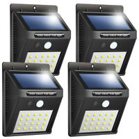 4x 20 LED Solar Power Wall Light Waterproof Outdoor PIR Motion Sensor Path Lamp