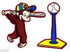 "2.5"" CURIOUS GEORGE MONKEY SPORTS BASEBALL BALL FABRIC APPLIQUE SET IRON ON"