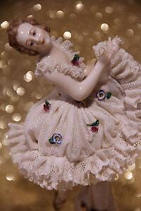 Fabulous Antique German Ackermann & Fritze Porcelain Dresden Lace Ballerina