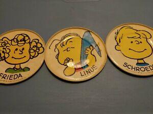 3 Vintage 1950 Peanuts Character FRIEDA. LINUS. SCHRIEDER.  Tin Coaster Plate