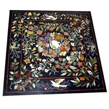 "36"" Collectible Marble Black Dining Hallway Table Top Floral Bird Inlay Art E931"