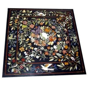 """36"""" Collectible Marble Black Dining Hallway Table Top Floral Bird Inlay Art E931"""