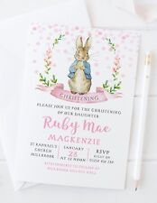 10 PERSONALISED GIRLS CHRISTENING INVITATIONS - PETER RABBIT BEATRIX POTTER