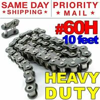#60H Heavy Duty Roller Chain x 10 feet, Free Connecting Link + Same Day Shipping