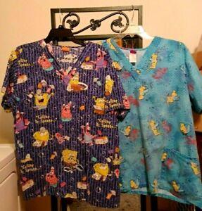 Lot of 2 Women's scrub tops Cartoon Size XL