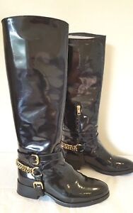 Alexander McQueen Patent Leather Chain Riding Boots Size 37 UK 4
