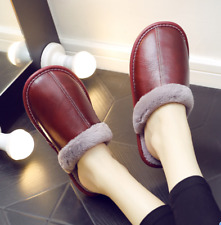 Womens Real Leather Fur Plush Slippers Waterproof Winter Home Cotton Shoes Zha19